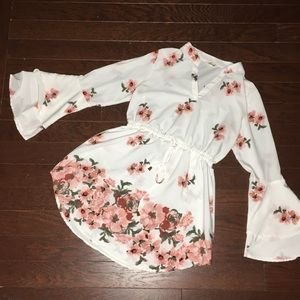 Hint of Blush Bell Sleeve Floral Print Tunic Dress